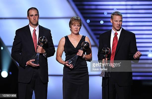 The Thomas family Todd Thomas Jan Thomas and Aaron Thomas accept the Arthur Ashe Courage Award onstage during the 2010 ESPY Awards at Nokia Theatre...