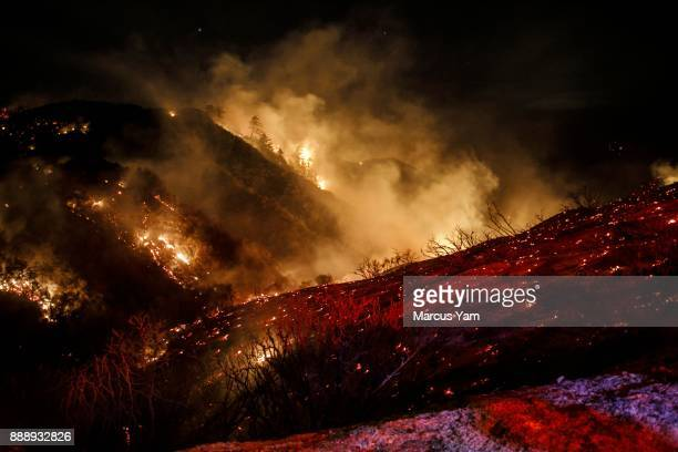 The Thomas Fire burns in the Los Padres National Forest near Ojai Calif on Dec 8 2017