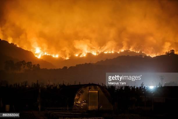 CARPINTERIA CALIF SUNDAY DECEMBER 10 2017 The thomas fire burns in the mountains near Carpinteria Calif on Dec 10 2017