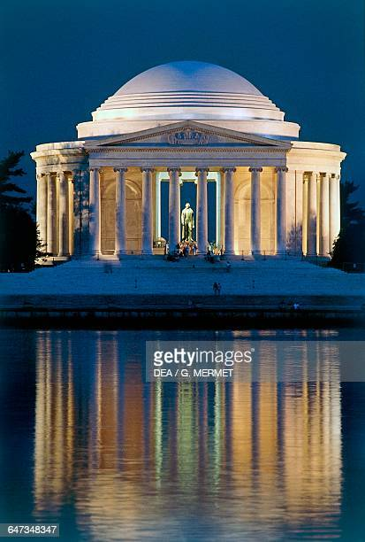 The Thomas Jefferson Memorial at night 19391943 designed by John Russell Pope in neoclassical style Washington DC District of Columbia United States...