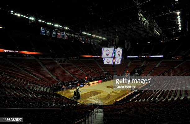 The Thomas Mack Center is seen before the start of the championship game of the Mountain West Conference basketball tournament between the Utah State...