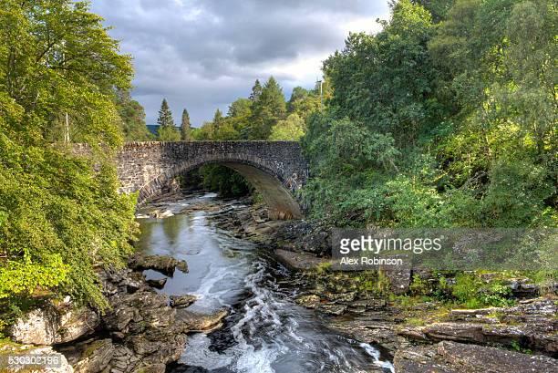The Thomas Telford Bridge and the Invermoriston falls and river on the shores of Loch Ness, Scotland, United Kingdom, Europe