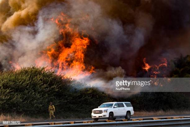 The Thomas wildfire burning along the 101 freeway near Faria Beach in Ventura California on December 7 2017 Firefighters across Southern California...