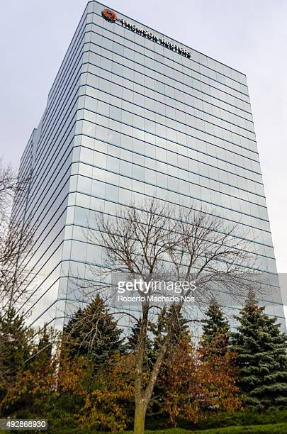 The Thomson Reuters building in Toronto Canada It is a tall building covered with glass on the facade on all sides The signage and logo are visible...