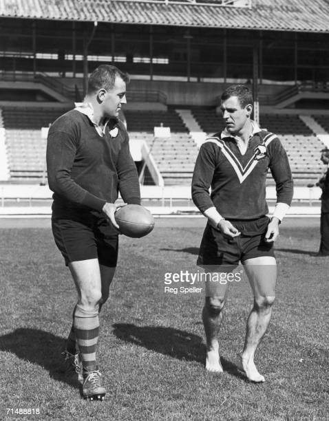 The Thornett brothers Dick and Ken training with the Australian rugby league team at White City stadium London 9th September 1963