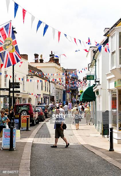 the thoroughfare, woodbridge, with shoppers - suffolk england stock photos and pictures