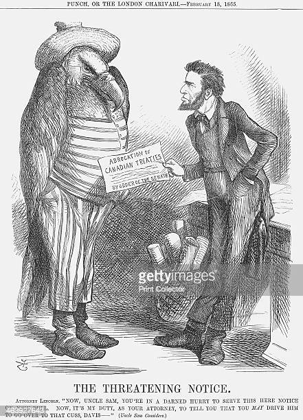 'The Threatening Note' 1865 'Attorney Lincoln Now Uncle Sam You're in A Darned Hurry to Serve this Here Notice on John Bull Now It's My Duty as Your...