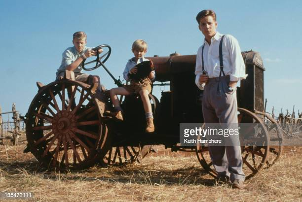 The three actors who portray the protagonist PK at different ages in the film 'The Power of One' 1992 From left to right the actors are Simon Fenton...