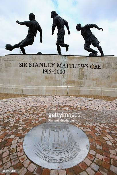The three ages of Sir Stanley Matthews statue is seen prior to the Barclays Premier League match between Stoke City and Queens Park Rangers at...
