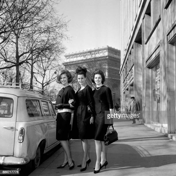 The three ambassadors of the French Elegance Miss Sweden Monica Ragby Dutch model and 1962 Miss World Catharina Lodders and Miss France 1962 Monique...