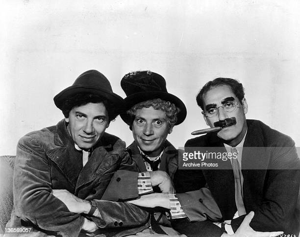 The three best known members of American comedy act the Marx Brothers circa 1935 Left to right Chico Harpo and Groucho Marx