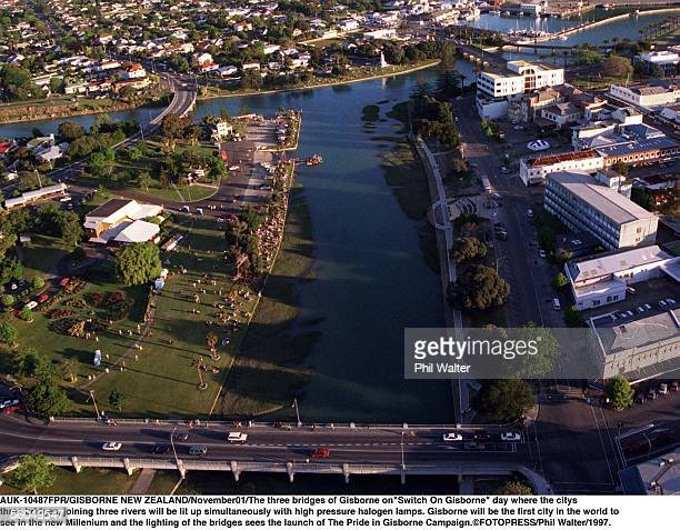 The three bridges of Gisborne on'Switch On Gisborne' day where the citys rthree bridges joining three rivers will be lit up simultaneously with high...