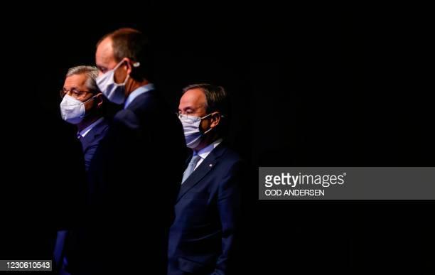 The three candidates as leader of the Christian Democratic Union Friedrich Merz , Norbert Roettgen and North Rhine-Westphalia's State Premier Armin...