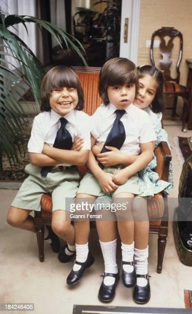 The three children of Spanish singer Julio Iglesias Julio Enrique and Chaveli Madrid Castilla La Mancha Spain