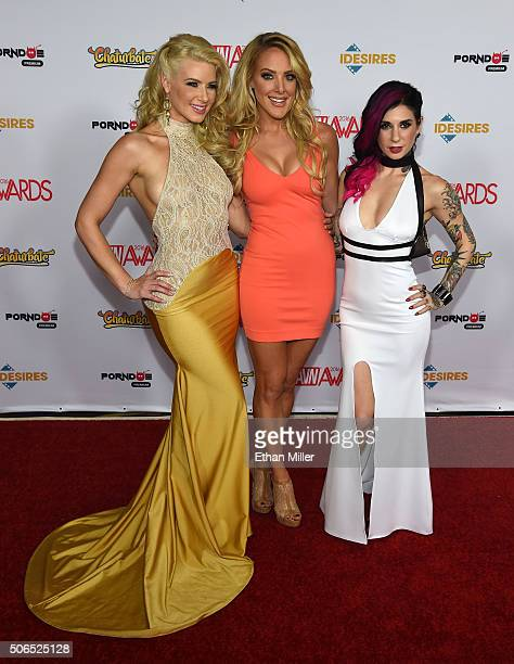 The three cohosts of the 2016 Adult Video News Awards adult film actress Anikka Albrite comedian/actress Kate Quigley and adult film actress/director...
