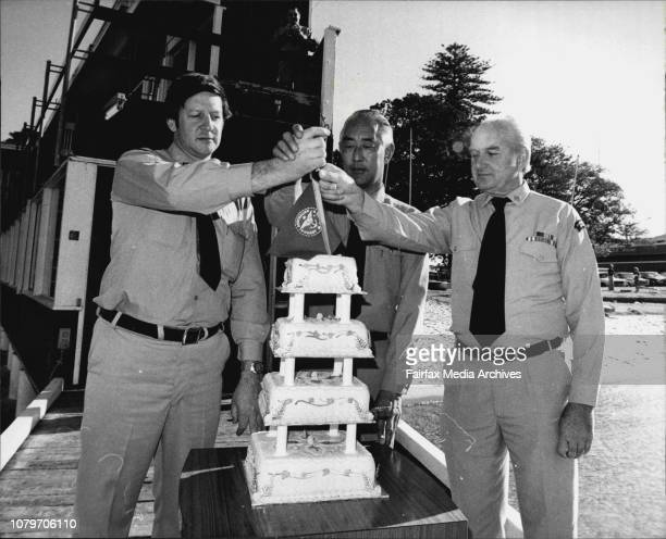 The three commanders of the Sydney Flotilla's over the last 10 years pose with the cake at their HQ Neil Telfer Ken Leedow Lloyd ParryToday the...