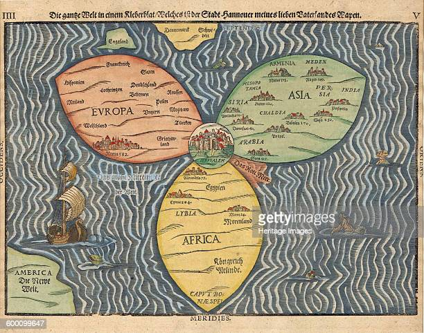 The three continents with Jerusalem in the center of the World 1581 Private Collection Artist Bünting Heinrich