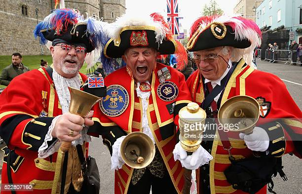 The 'Three Criers' Tony Appleton Steve Clow and Peter Baker prepare for the Queen's 90th Birthday Walkabout on April 21 2016 in Windsor England Today...