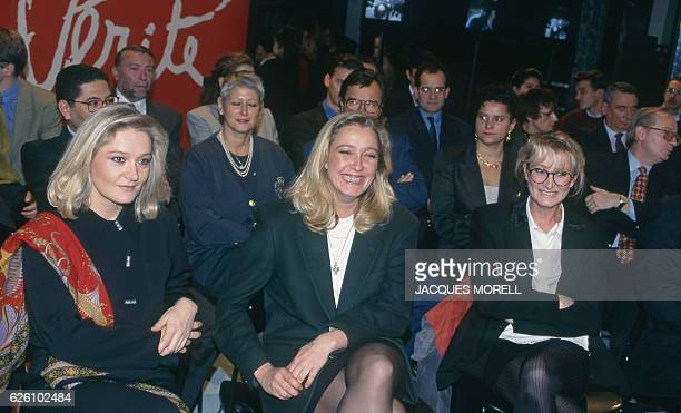 "MarieCaroline Marine and Yann Le Pen supporting their father on the set of the French tv show ""L'heure de vérité"" France 13th November 1994"