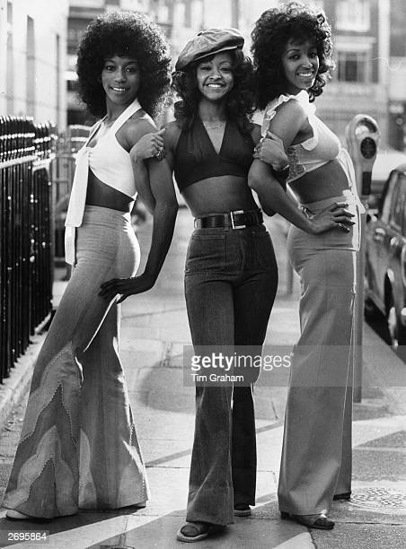 The Three Degrees a American female singing group pictured in a London street