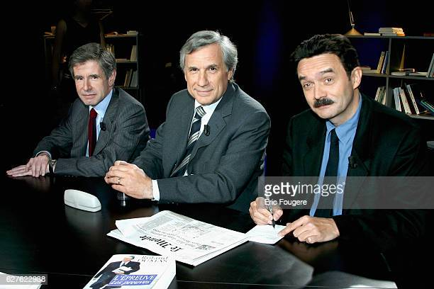The three directors of 'Le Monde' JeanMarie Colombani Edwy Plenel and Alain Minc appeared on the literary magazine programme 'Campus' presented by...