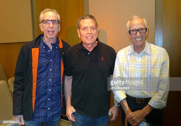 The three directors of the movie Airplane Jerry Zucker David Zucker and Jim Abrahams pose for a portrait at The Industry Workshops at the Los Angeles...