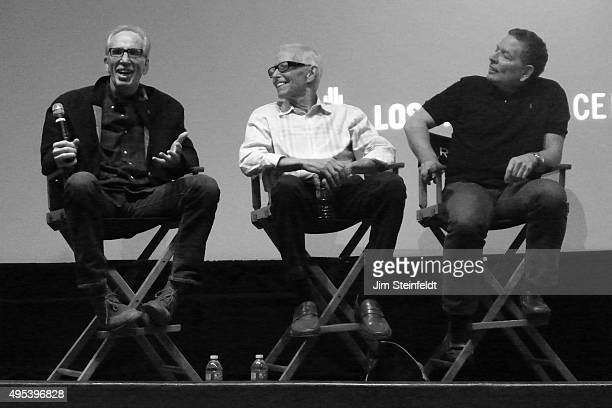 The three directors of the movie Airplane Jerry Zucker Jim Abrahams and David Zucker at The Industry Workshops at the Los Angeles Center Studios in...