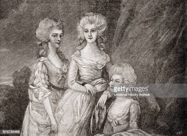 The three eldest daughters of King George III. From left to right: Charlotte, Princess Royal, 1766 –1828. She was Queen of Württemberg as the wife of...