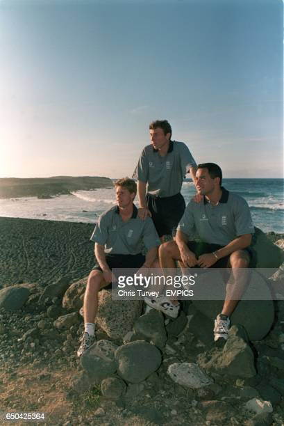 The three England captains for the winter tours Nick Knight Michael Atherton and Adam Hollioake