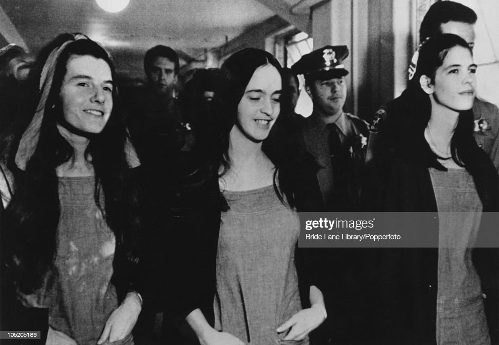 The three female defendants in the Tate/LaBianca murder trial leave the Los Angeles courtroom after being convicted of first degree murder, 25th January 1971. From left to right, Patricia Krenwinkel, Susan Atkins and Leslie Van Houten were found guilty of the murders of actress Sharon Tate and six other people, in collaboration with Charles Manson.