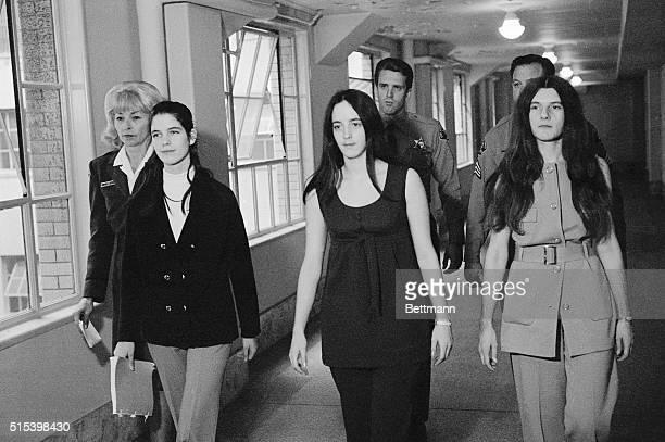 The three female defendants in the TateLaBianca murders Leslie Van Houten Susan Atkins and Patricia Krenwinkel return to their cells
