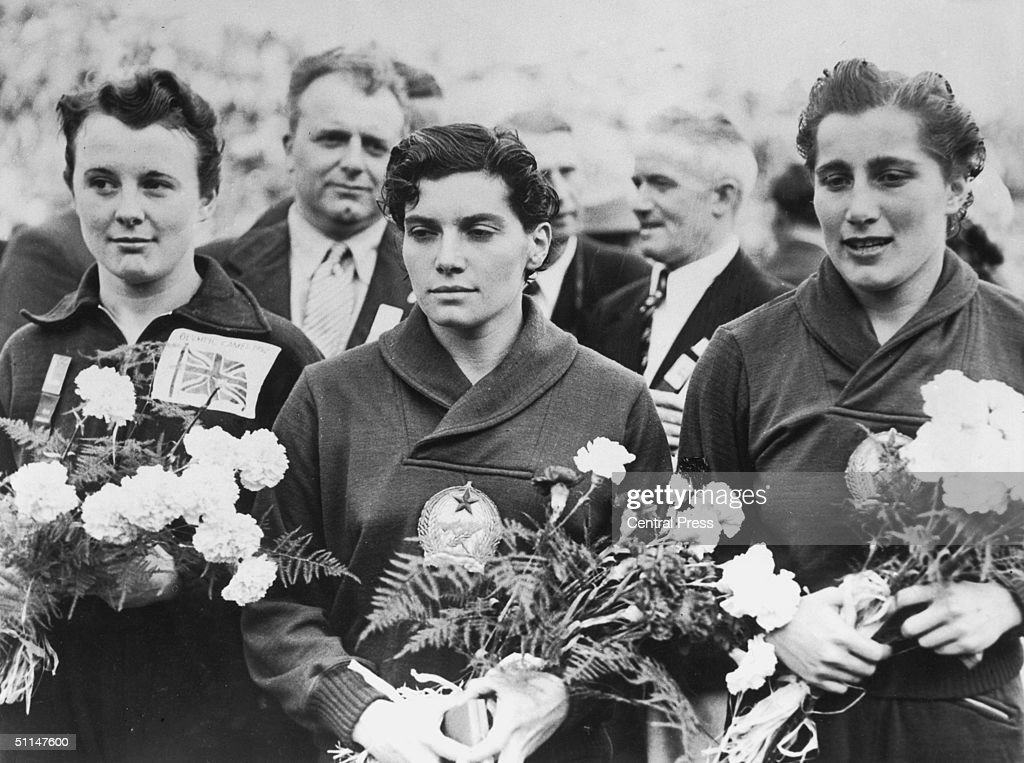 The three finalists in the 200 metres ladies breaststroke at the Helsinki Olympics, 31st July 1952. From left to right, they are Britain's Helen 'Elenor' Gordon (bronze), Hungary's Eva Szekely (gold) and Eva Novak (silver), also from Hungary.