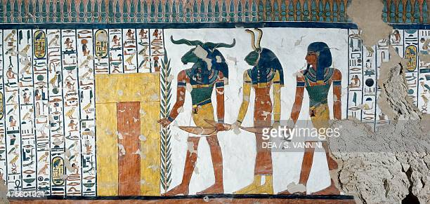 The three genuses guarding the Second Gate of the Kingdom of Osiris Book of the Dead Chapter 144 detail from the frescoes in the burial chamber of...