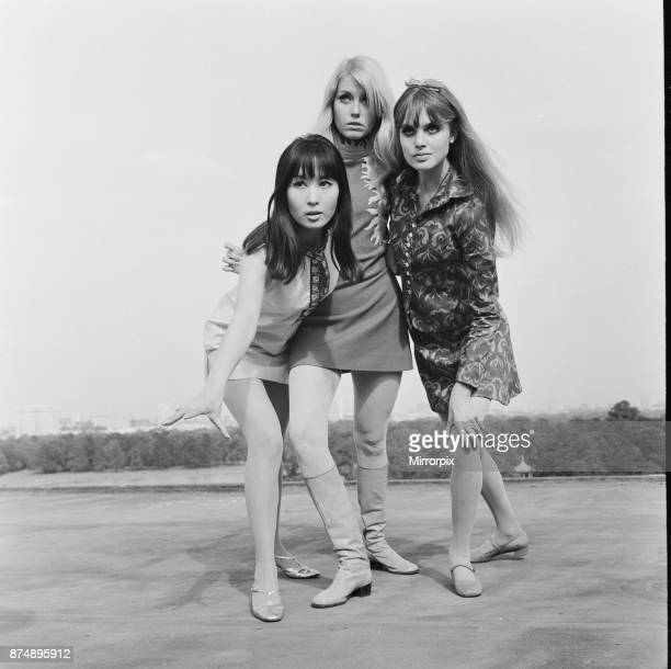 The three girls who star in the comedy film The Mini Mob left to right Lucille Soong Gretchen regan and Madeline Smith 10th September 1967