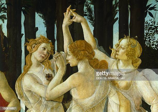 The Three Graces detail of the allegory of spring ca 14771490 by Sandro Botticelli tempera on wood 203x314 cm