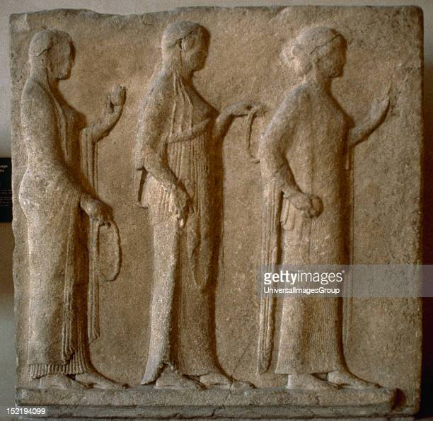 The Three Graces Greek relief from the Passage of the Theores 470 BC Thassos Louvre Museum Paris France