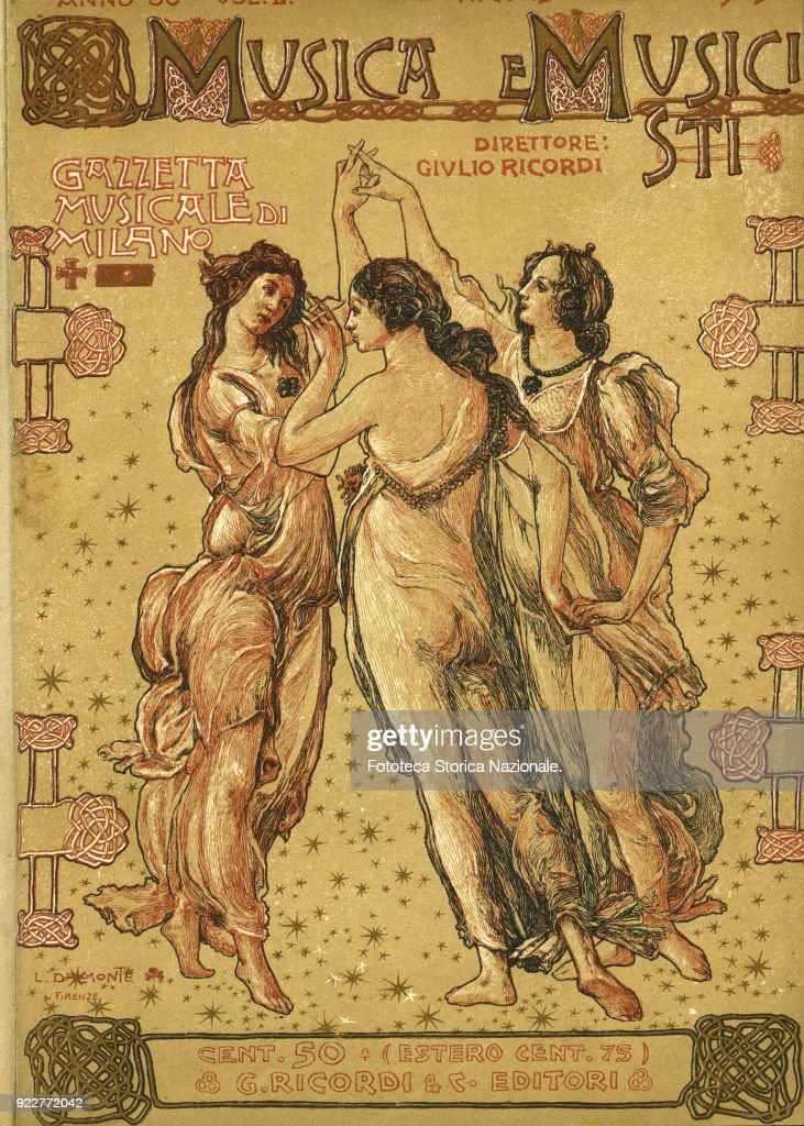 The Three Graces, reinterpretation of Botticelli's 'Primavera (Spring)' detail. Cover for 'Musica e Musicisti - Gazzetta Musicale di Milano', periodical directed by Giulio Ricordi; Illustration by Luigi Dal Monte (1881-1966). Giulio Ricordi & C. Editore, Milan, July 15, 1905.