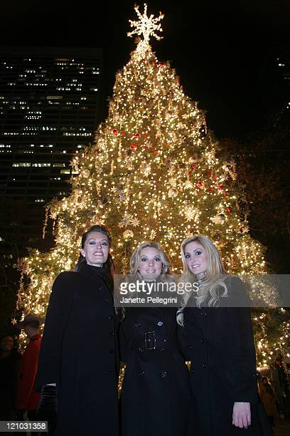 The Three Graces Sara Gettelfinger Joy Kabanuck and Kelly Levesque attend the 2007 Holiday in Bryant Park Tree Lighting Ceremony on November 27 2007...