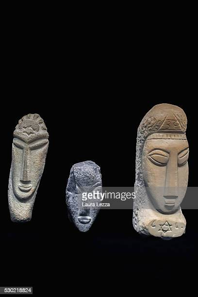 The three heads known as Gamma Alpha Beta that are believed to be attributed to Amedeo Modigliani are displayed in a bank vault on May 10 2016 in...