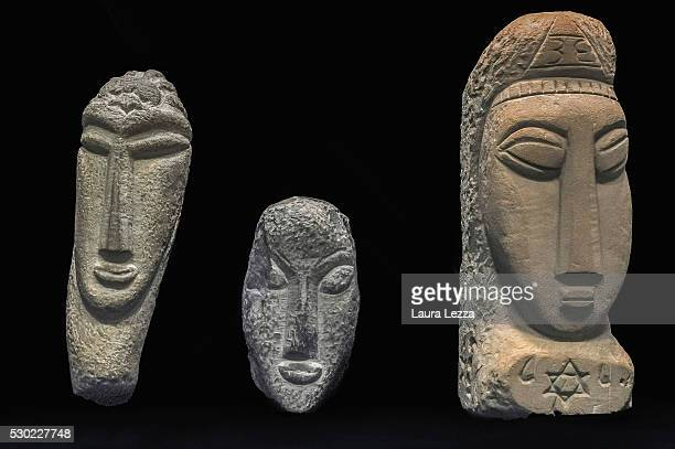 The three heads known as Testa Gamma Testa Alpha Testa Beta that it is belived to be attributed to Amedeo Modigliani are displayed in a bank vault on...