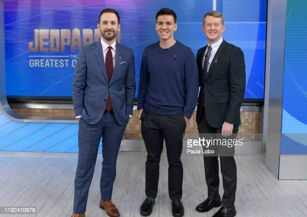 The three highest money winners in Jeopardy's history Ken Jennings Brad Rutter and James Holzhauer are guests on Good Morning America Monday January...