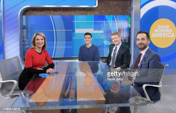 """The three highest money winners in """"Jeopardy's"""" history, Ken Jennings, Brad Rutter and James Holzhauer are guests on """"Good Morning America,"""" Monday,..."""