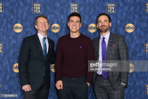 The three highestearning Jeopardy contestants of all time Ken Jennings Brad Rutter and James Holzhauer attend ABC's Winter TCA 2020 Press Tour in...