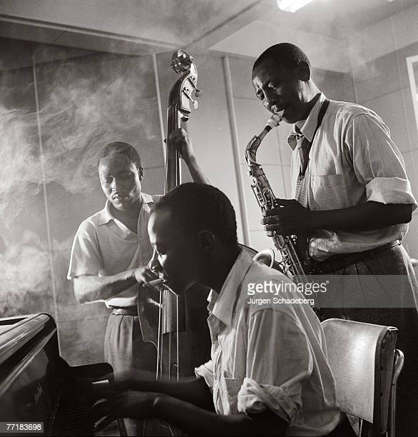 The Three Jazzomolos Jacob 'Mzala' Lepers on bass Ben 'Gwigwi' Mrwebi on alto sax and Sol 'Beegeepee' Klaaste on piano Johannesburg 1953
