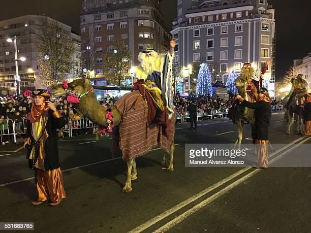 The three kings arriving in the Nativity recreation January 5th of 2015 Santander Cantabria Spain