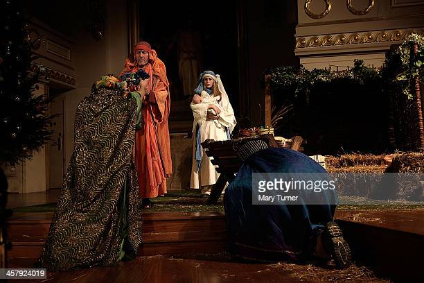 The Three Kings bring gifts to Baby Jesus played here by Eilidh Colvin with Rachel Burden and Tim Hendy as Mary and Joseph during the Winterhall...