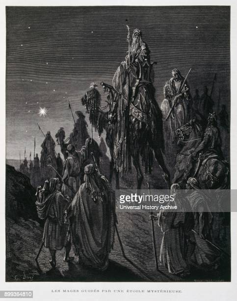 The three kings or Magi follow the star to Bethlehem in search of Jesus Illustration from the Dore Bible 1866 In 1866 the French artist and...
