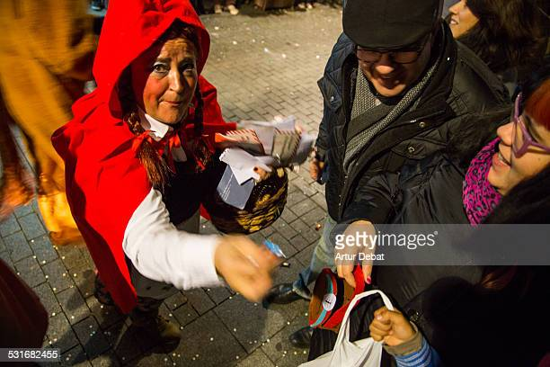 The Three Kings parade arriving at town with all kids waiting for the candy and give him the letters. January 5th of 2015 in Barcelona. Catalonia,...