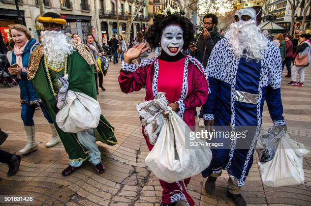 The three kings street vendors come to distribute gifts and candies The Three Wise Men handing out candies is a Spanish tradition since the 19th...