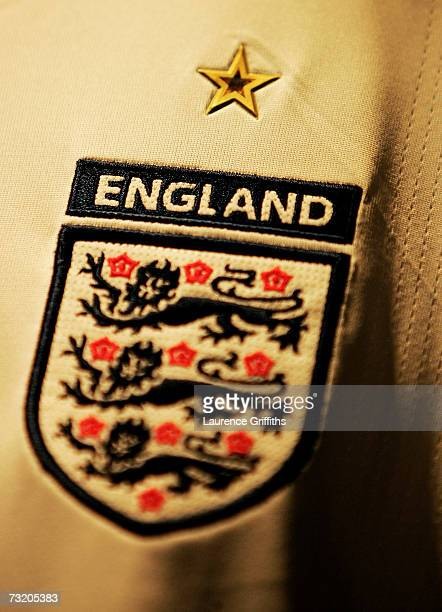 The Three Lion Crest on the New England Shirt during a Kit Launch at the Royal Exchange Theatre on February 5 2007 in Manchester England